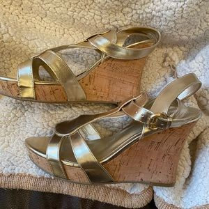 Gold strappy wedge sandals